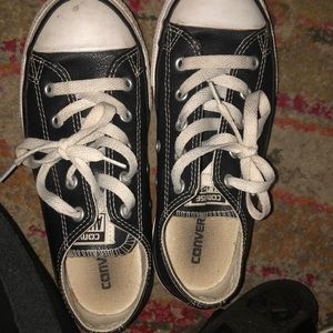 Size 2 leather converse low tops!